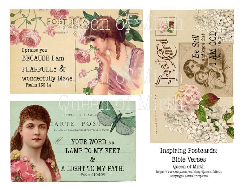 Bible Verses Altered Vintage Postcards Christian Art printable Etsy