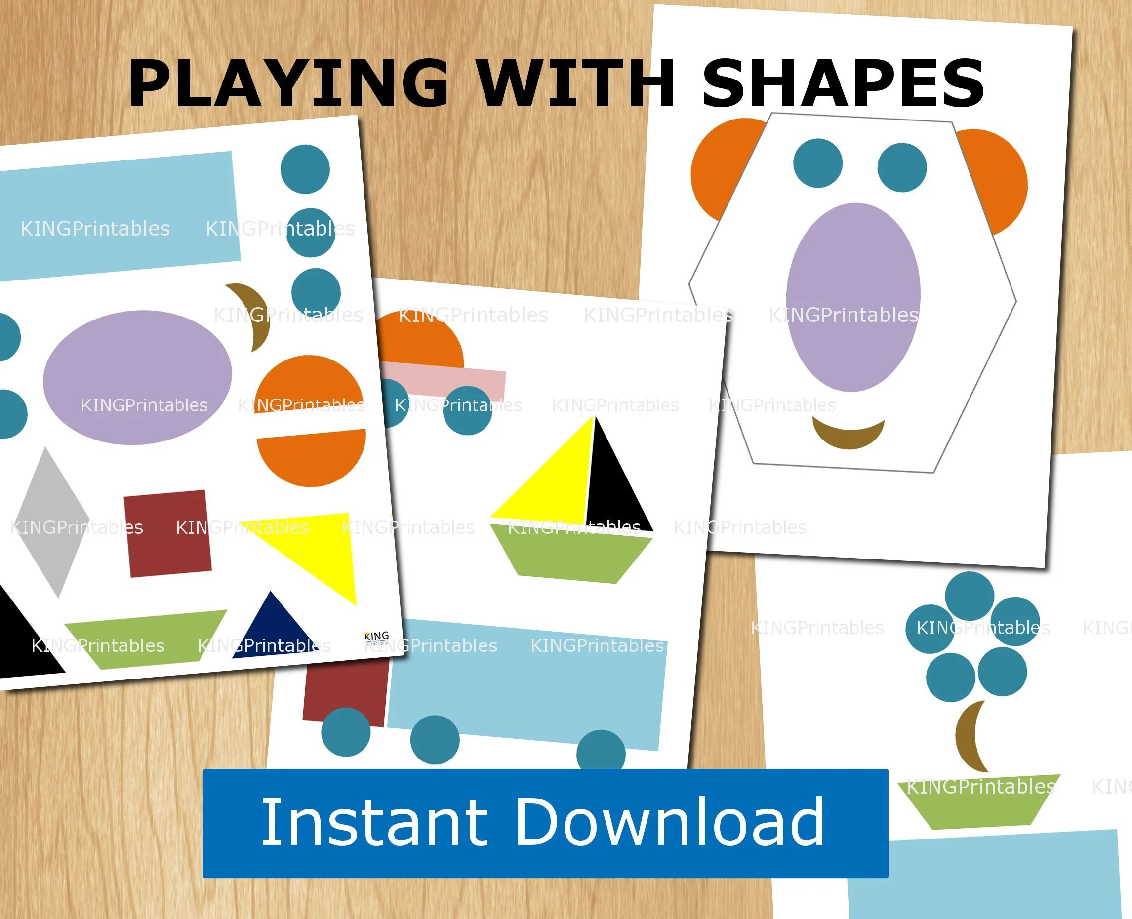 Shape Puzzles Printable 8 Pages Preschool Activities Etsy