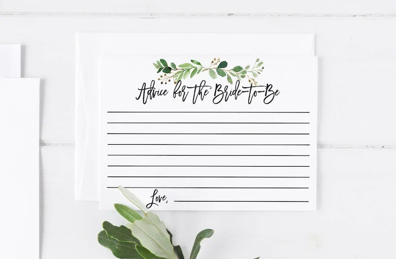 Advice For the Bride To Be Printable Note Card Template Bridal Etsy