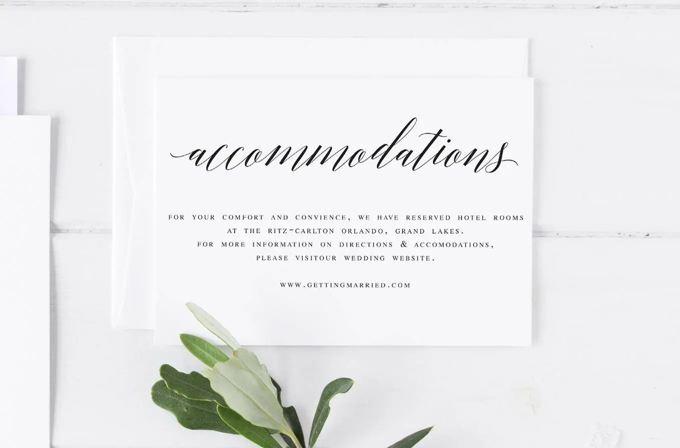 Elegant Accommodations Card Insert Wedding Information Card Etsy