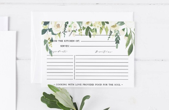 White Floral Greenery Recipe Card Template Recipe Card Etsy