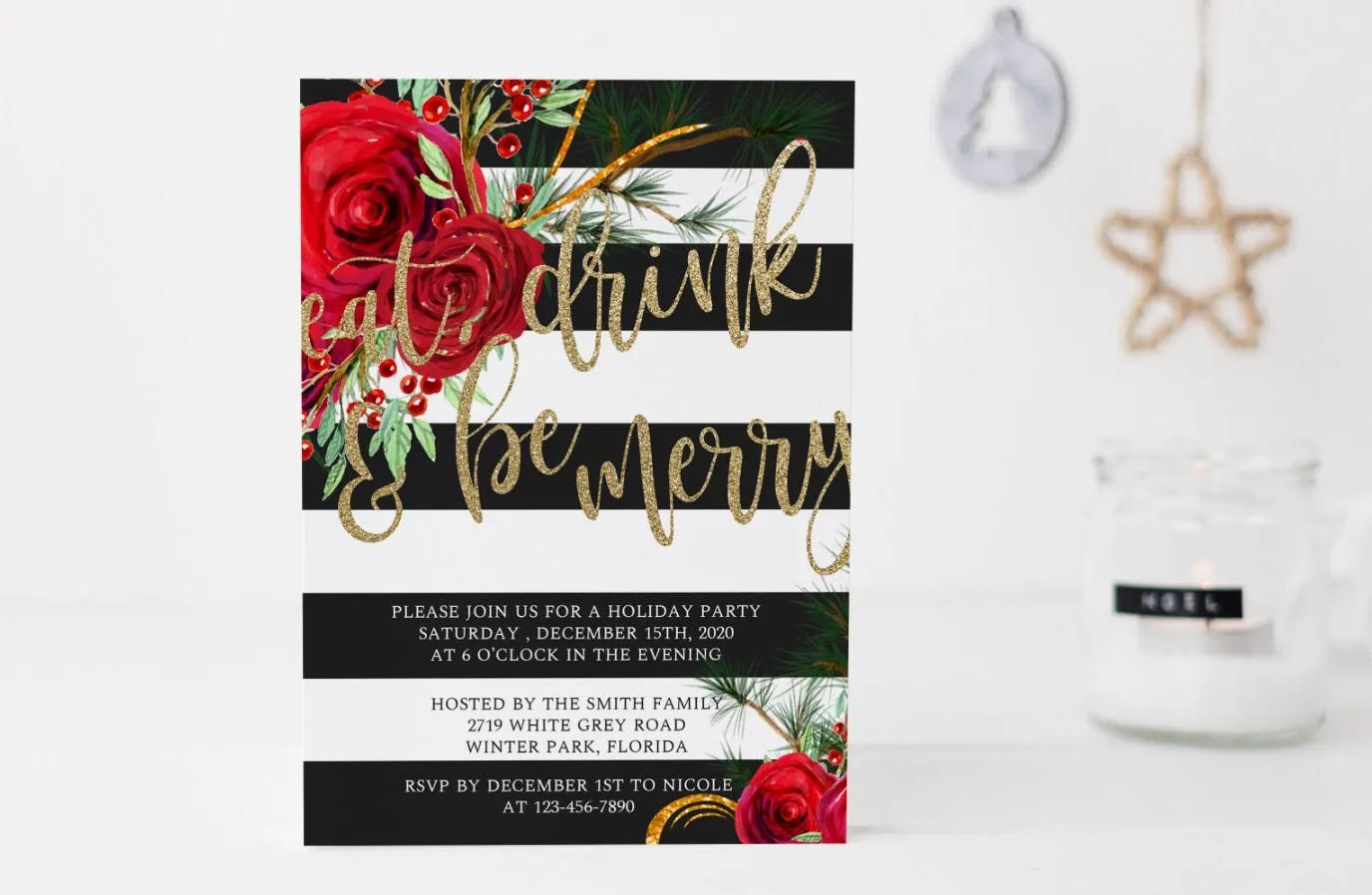 Eat Drink and be Merry Invitation, Christmas Dinner Invitation