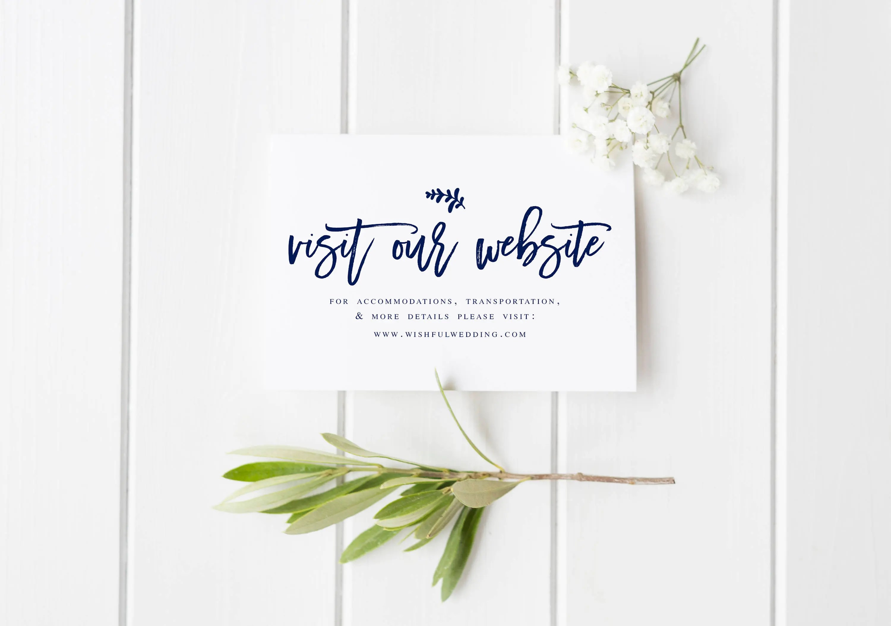 Navy Wedding Website Card Insert Template Editable website Etsy