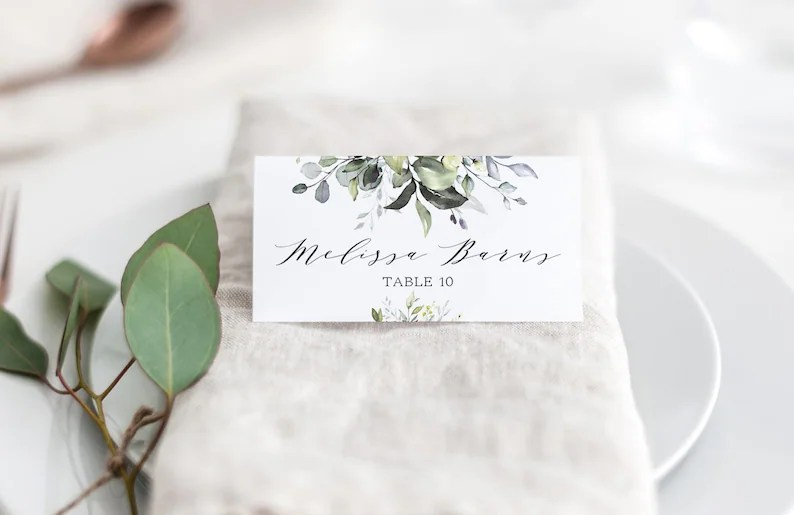 Greenery Place cards Template Greenery Folded Place Card Etsy