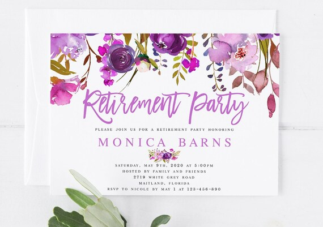 Bohemian Purple Floral Retirement Party Invitation Template Etsy