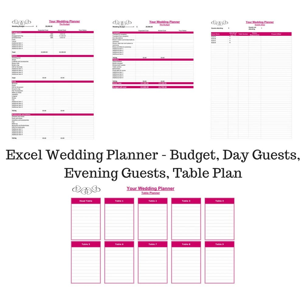 Wedding Planner Excel Spreadsheet Wedding Planner Budget