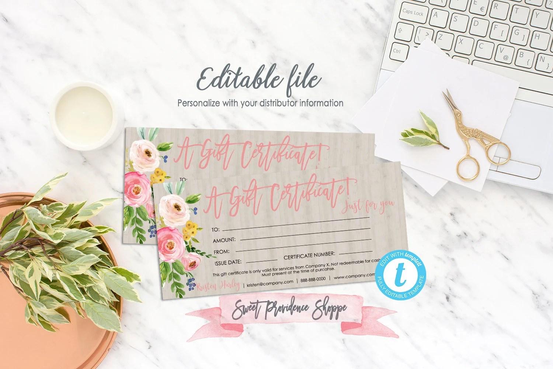 Editable Gift Certificate Printable Gift Voucher Editable Etsy