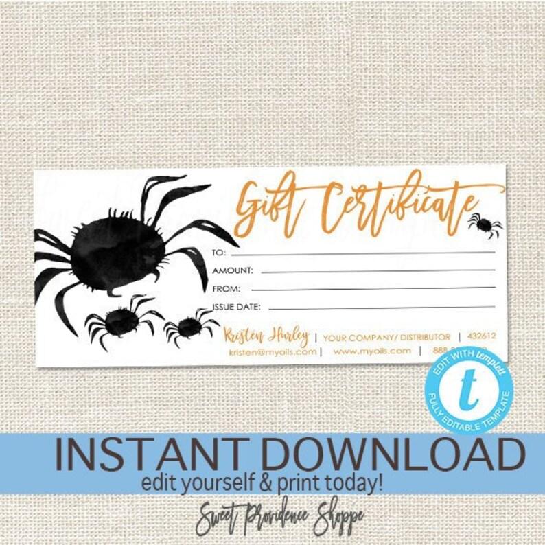 Editable Gift Certificate Halloween Printable Gift Voucher Etsy