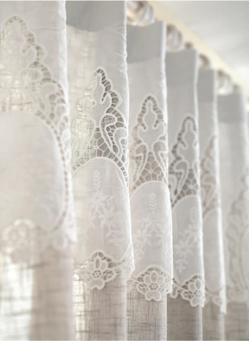 French Lace Curtains Pair Beautiful Linen Look French Drapes With French Lace Wedding Drapes Panels Burlap Curtains French Lace Curtains Oatmeal Curtain Panels