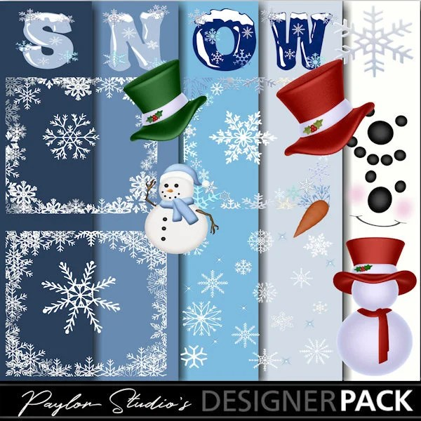 Digital Scrapbook kit clip art Let it Snow Snowflakes Etsy