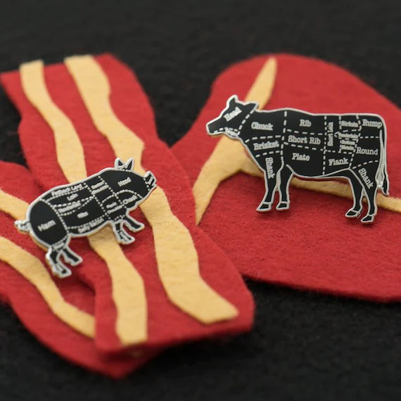 Silver Cow and Pig Butcher Cuts Diagram Set Hard Enamel Lapel Etsy