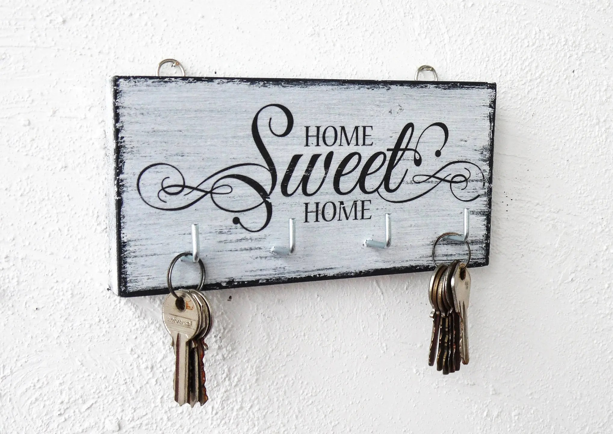 Home Key Holder For Wall Home Sweet Home Key Hanger Wall White Wood Key Holder For Wall Shabby Wood Cottage Chic Housewarming Gift Key Hook Black And White Organizer