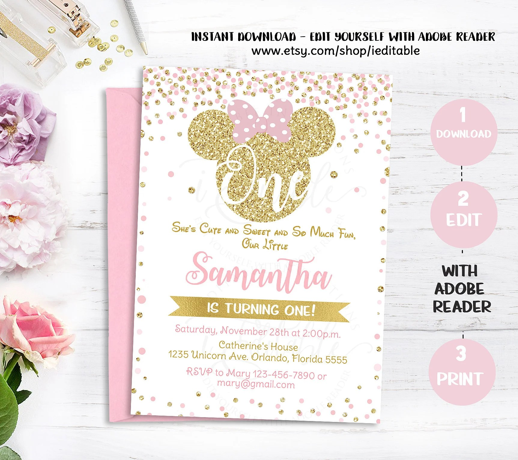 Pink and Gold Minnie mouse 1st birthday invitation first Etsy