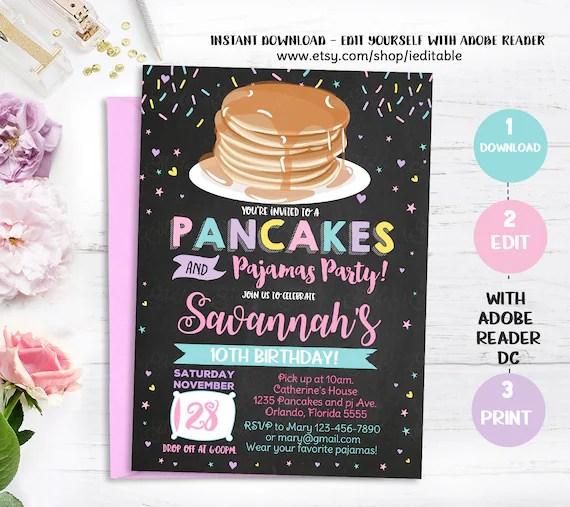 Pajamas and pancakes Invitation, Pjs invitation, Slumber, Sleepover