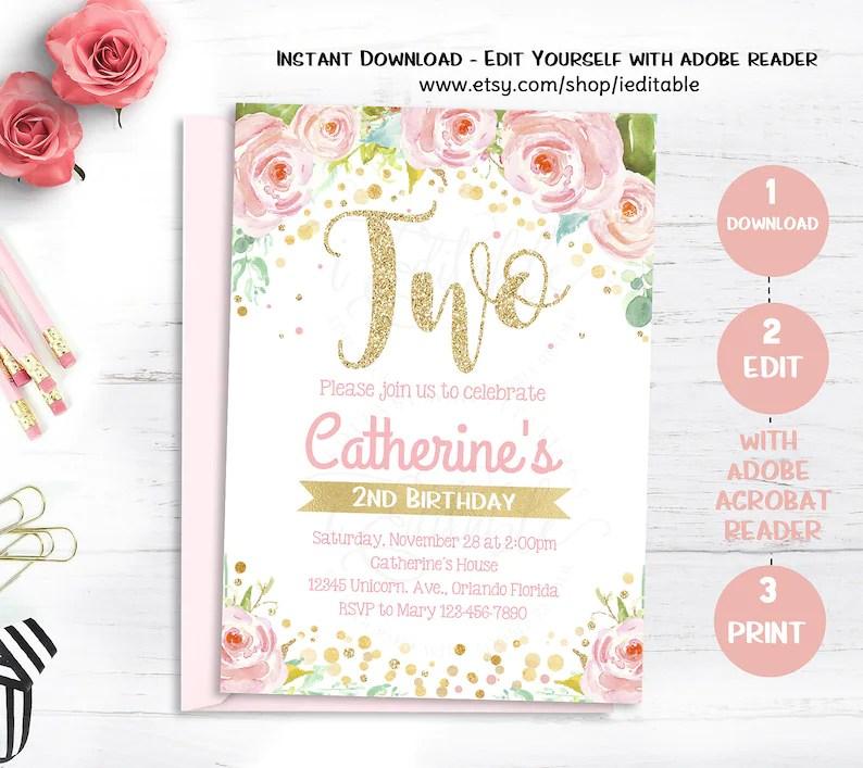 Floral Girls Birthday Invitations Second Birthday Invitation Etsy