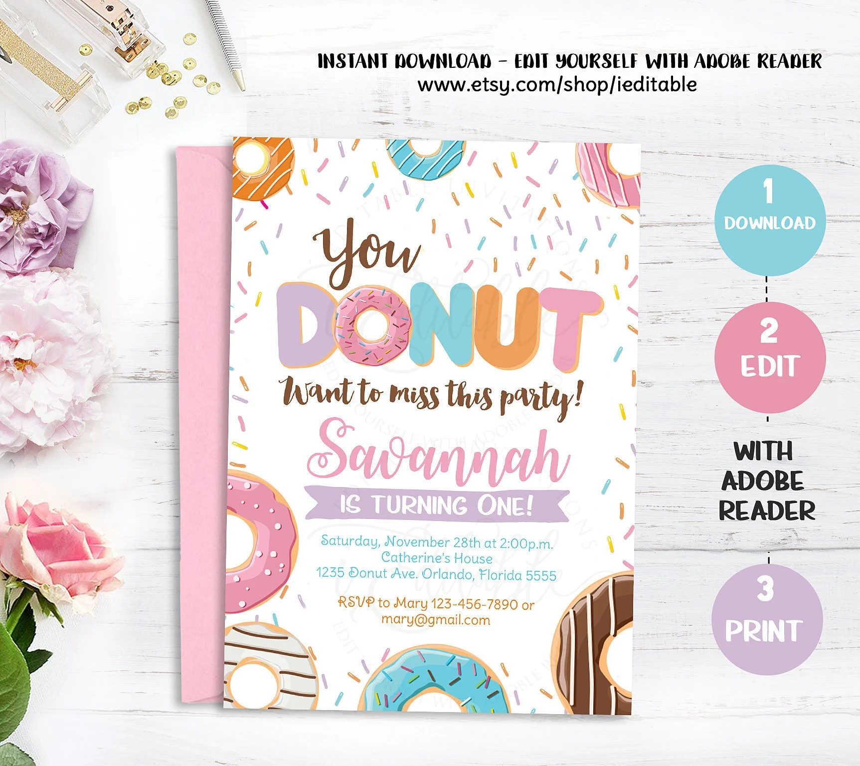 Donut Birthday Invitation, Doughnut Instant download, Editable