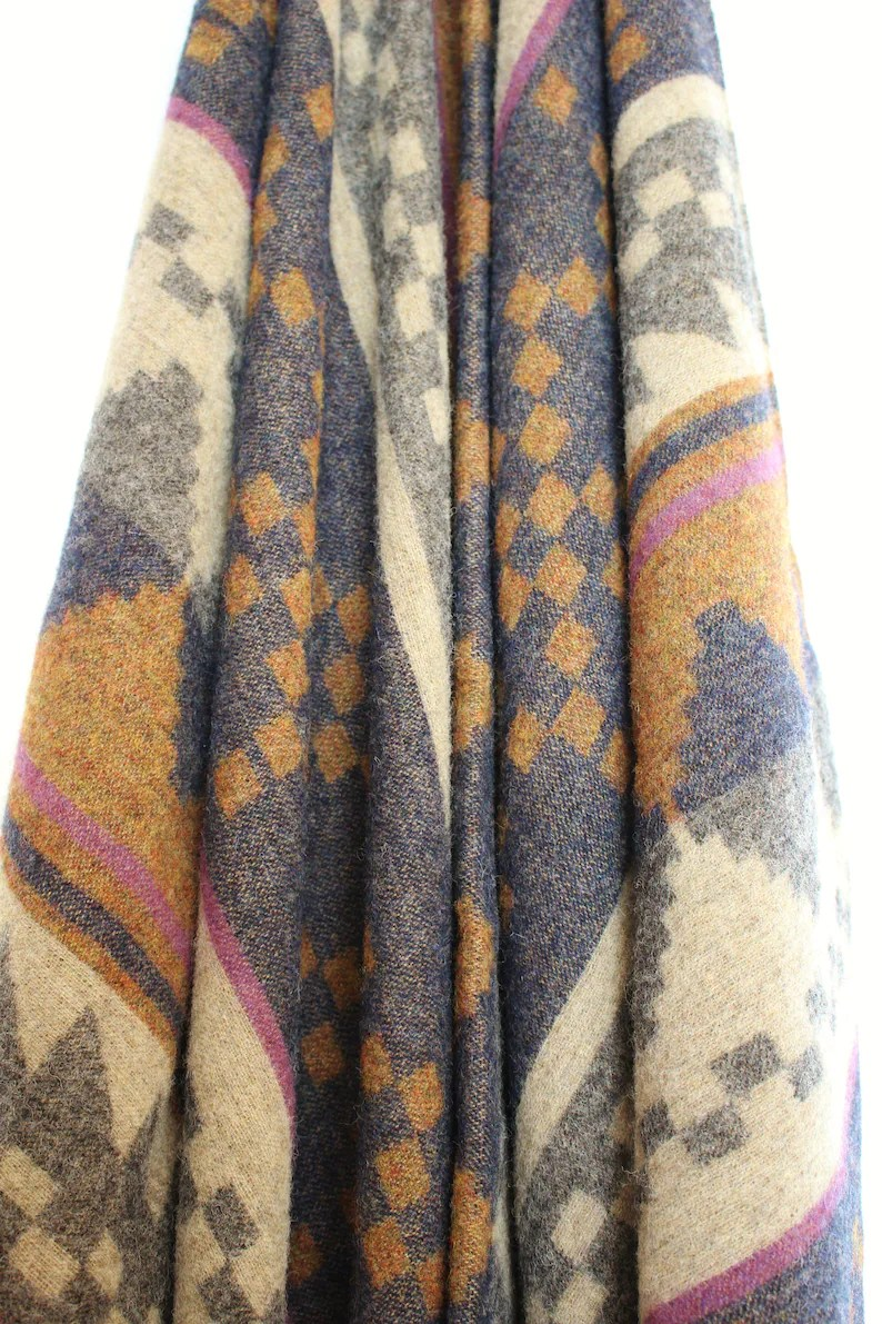 Etro Tagesdecke Etro Milano Italy Rustic Throw Blanket Lodge Blue Copper Gray Purple New