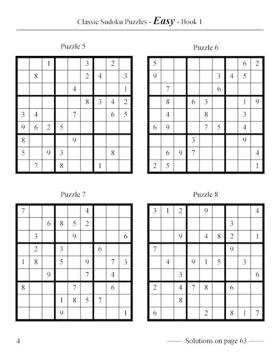 Classic Sudoku Puzzles Easy to Very Hard 240 puzzles Book Etsy