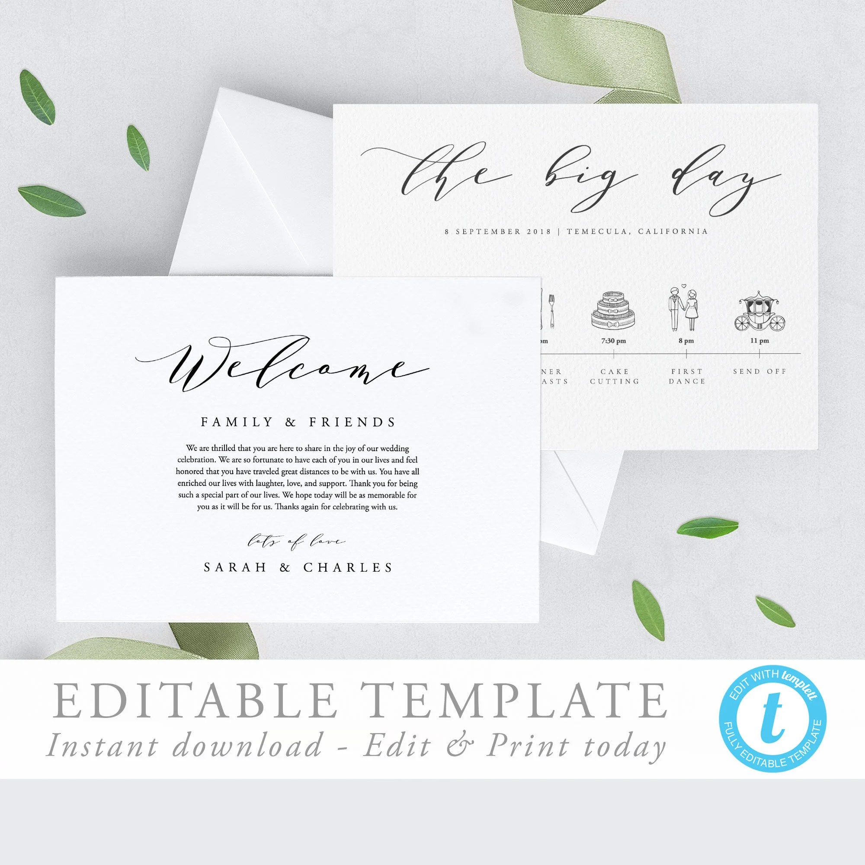 Calligraphy modern Wedding Timeline Template Editable Wedding Etsy