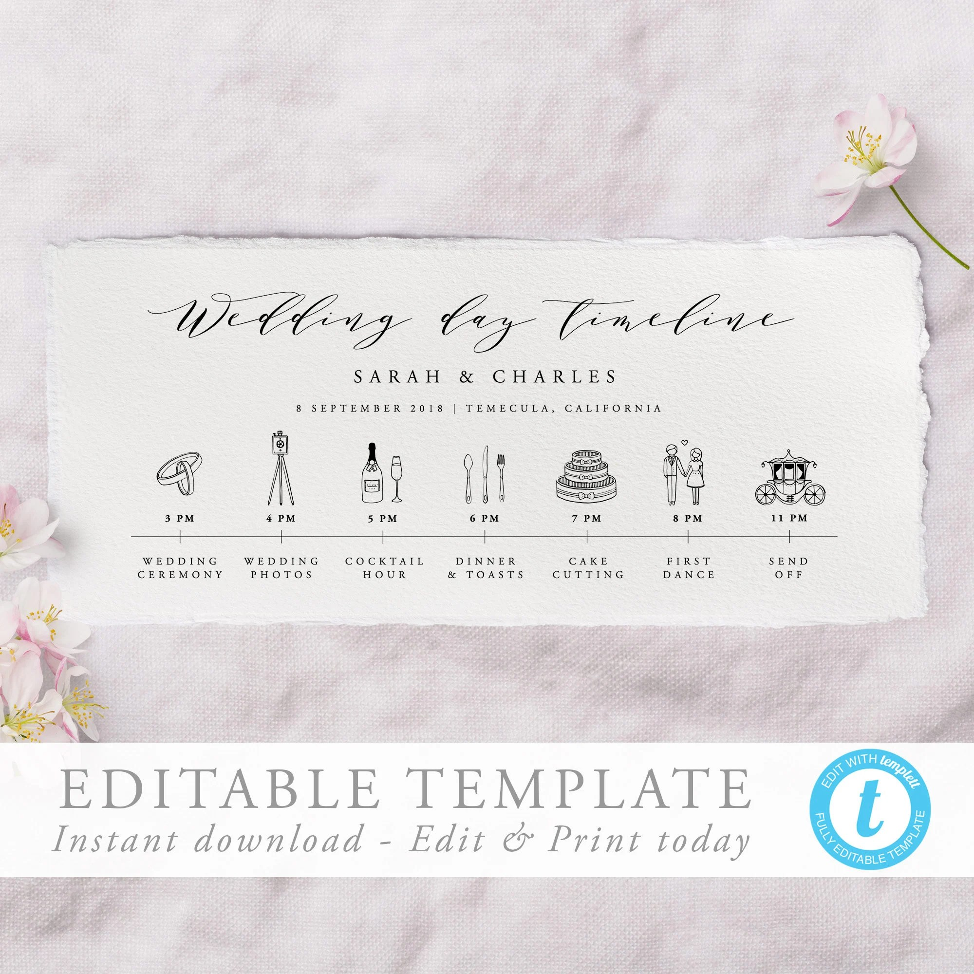 Wedding Day Timeline Template Calligraphy Order of Events Etsy