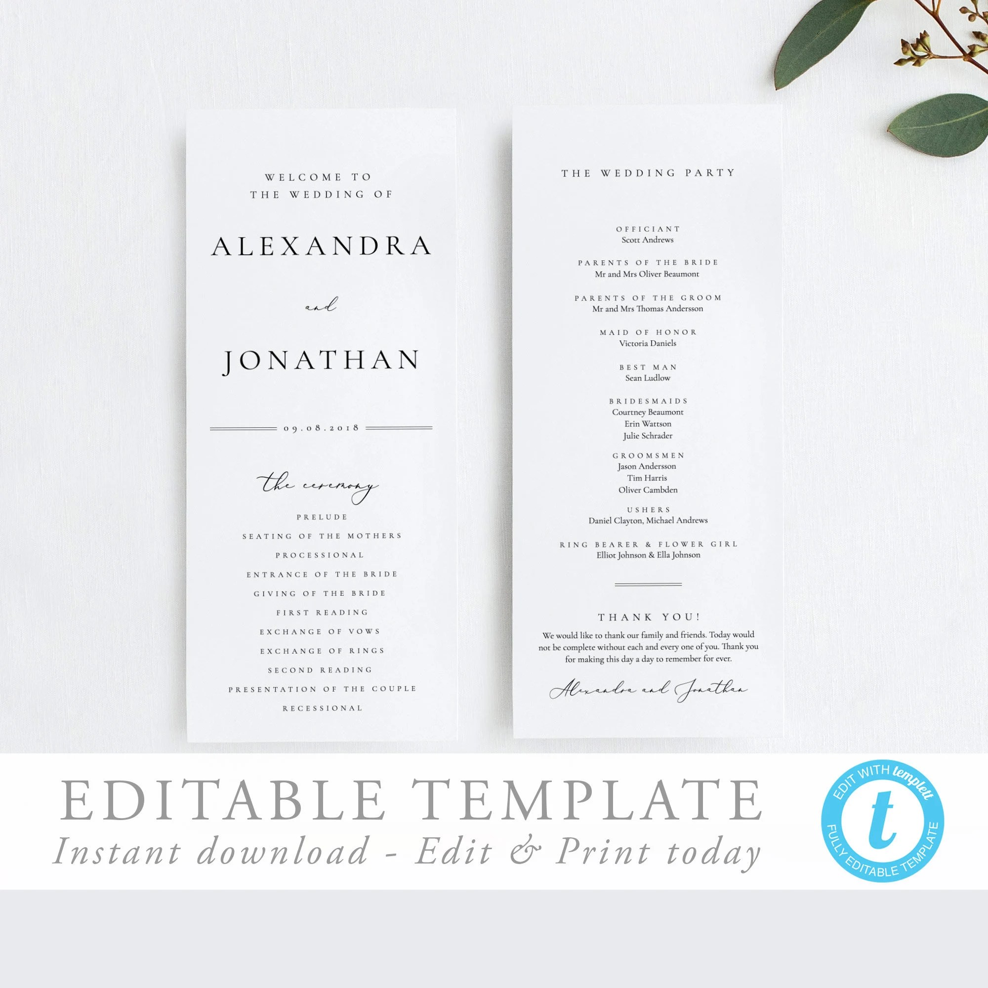 Wedding Ceremony Program Simple program template Elegant Etsy