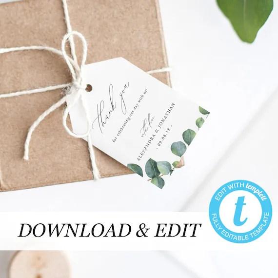 Thank You Tag Template Eucalyptus Wedding Thank You Tags Etsy