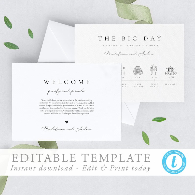 Simple Elegant Wedding Timeline Template Wedding day Itinerary Etsy