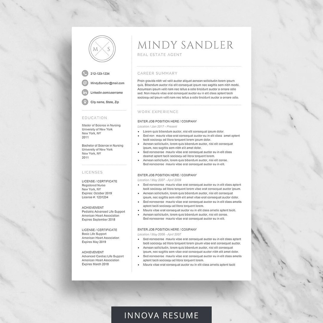 Professional Resume Template for Word Minimalist Resume Etsy