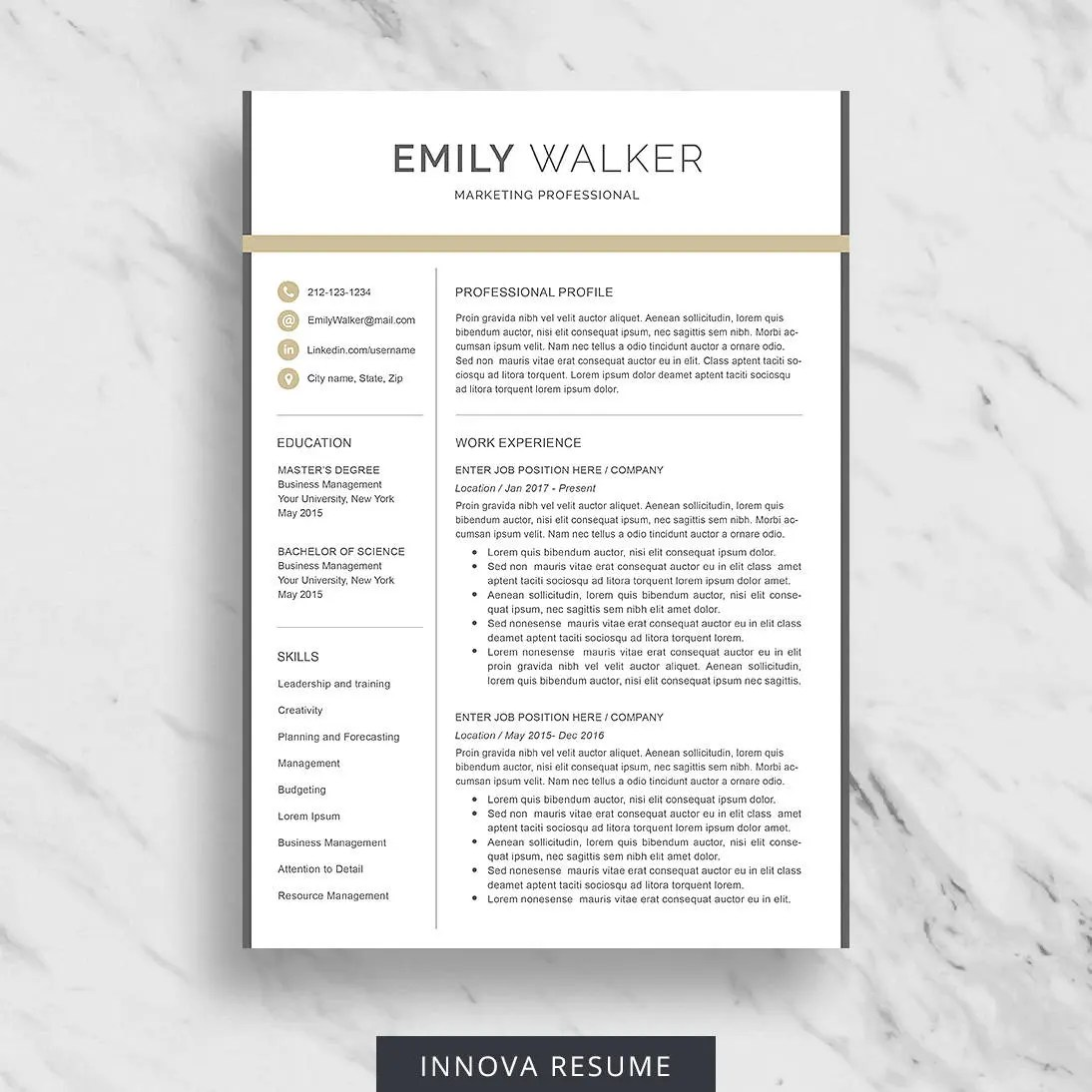 Professional Resume Template for Word Modern Resume Design Etsy