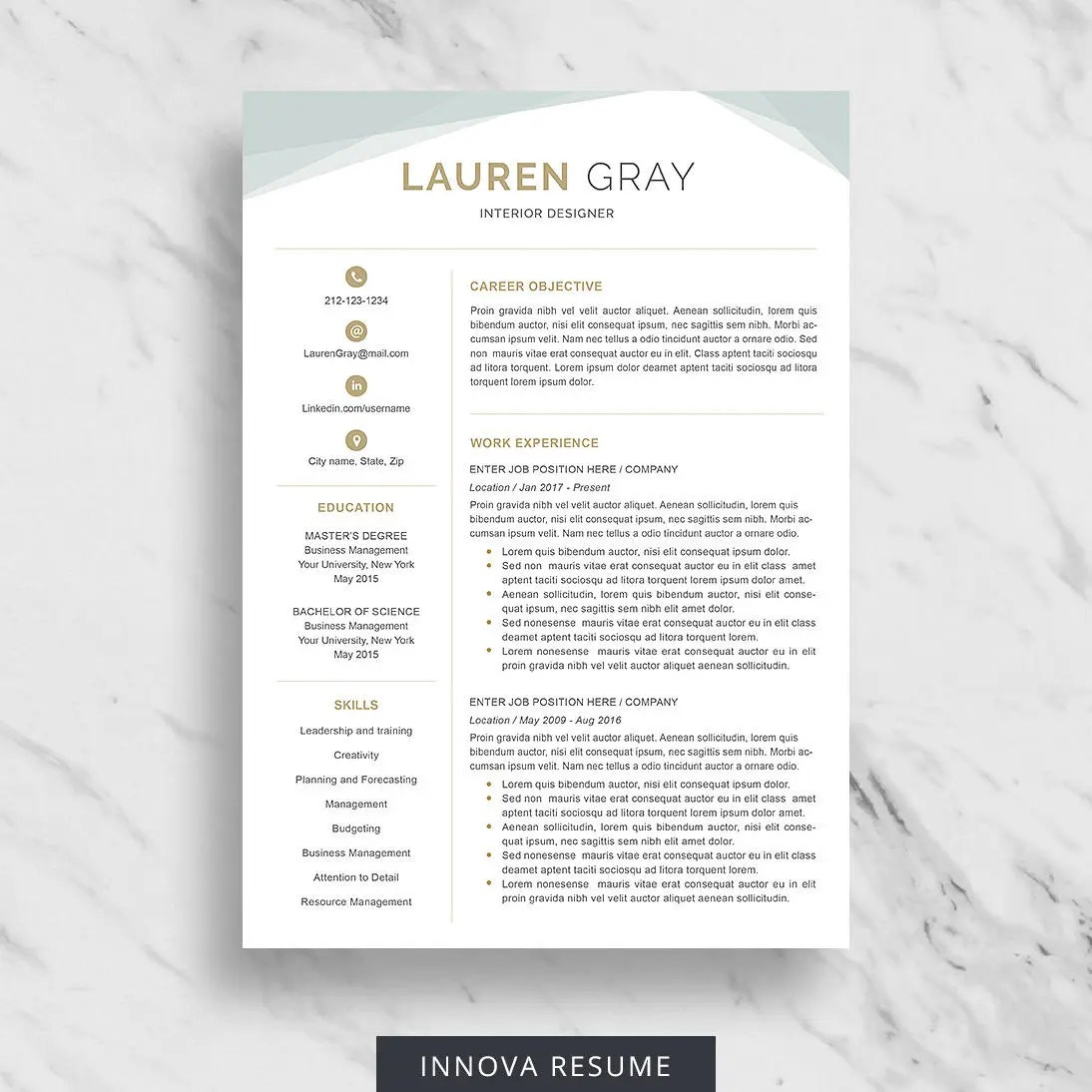 Creative Resume Template for Word Modern Resume Design CV Etsy