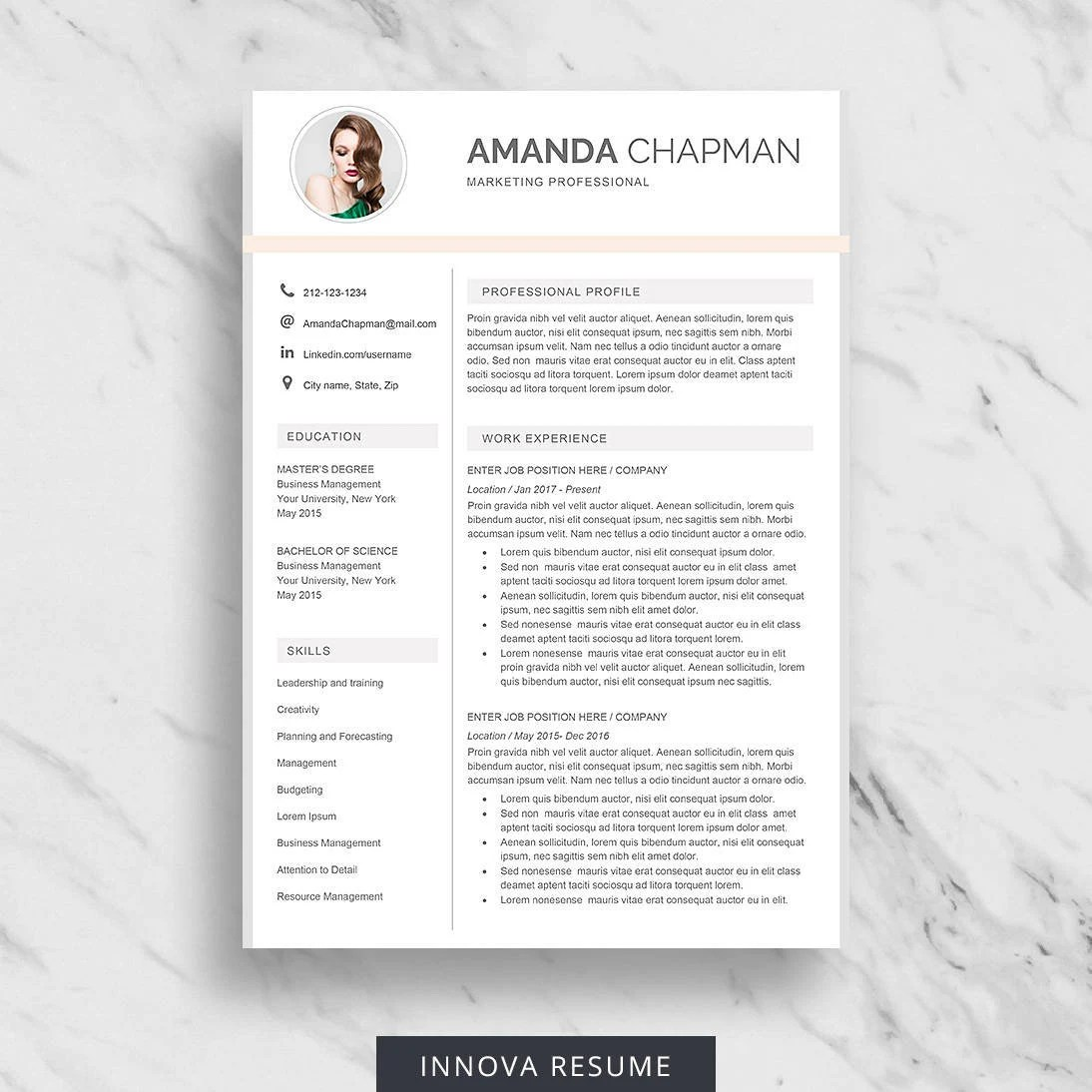 Modern Resume Template with Photo One Page Resume Design Etsy