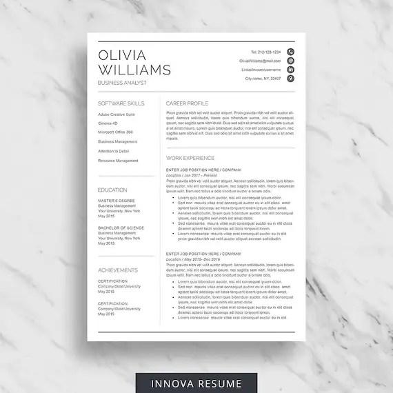 Professional Resume Template for Word Modern Resume Design Etsy