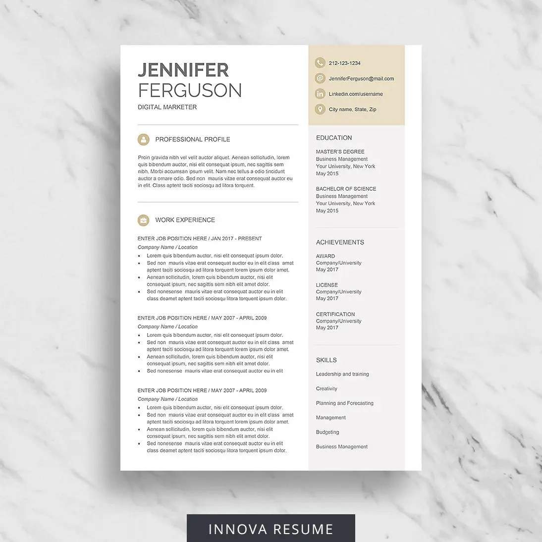 Modern Resume Template for Word One Page Resume Design Two Etsy