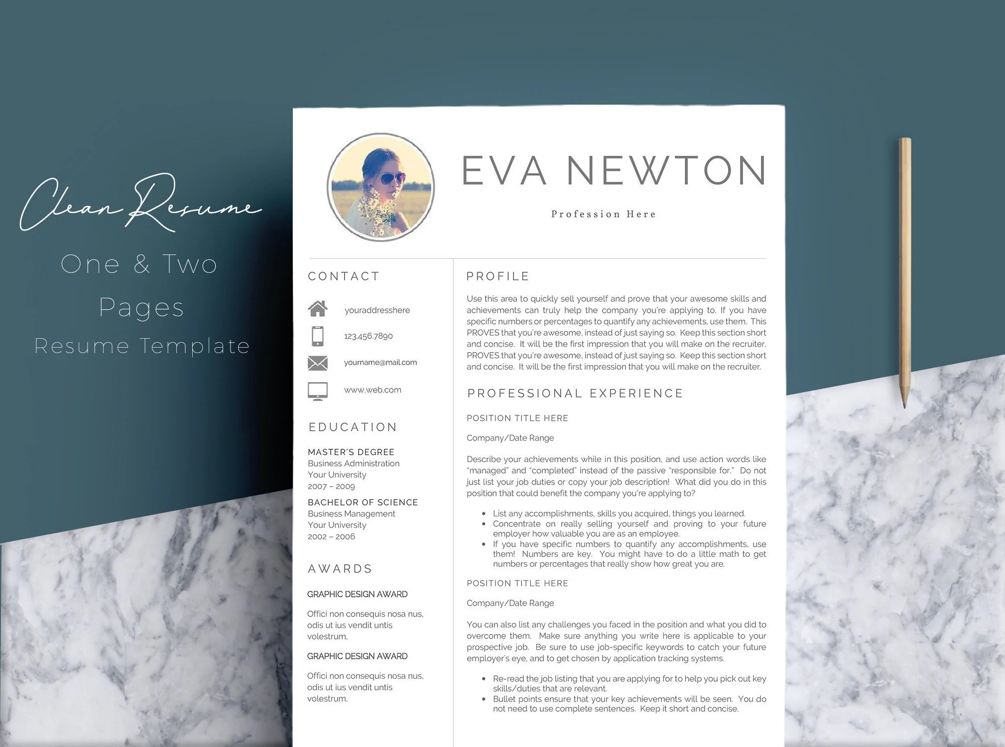 Professional Resume Template / CV Template Cover Letter Etsy