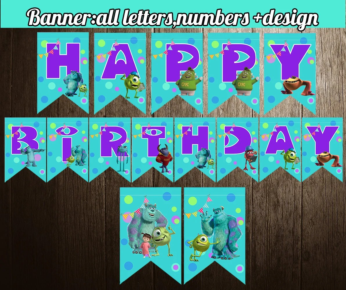 Monsters Inc Banner Monsters Birthday Party Banner Printable Etsy