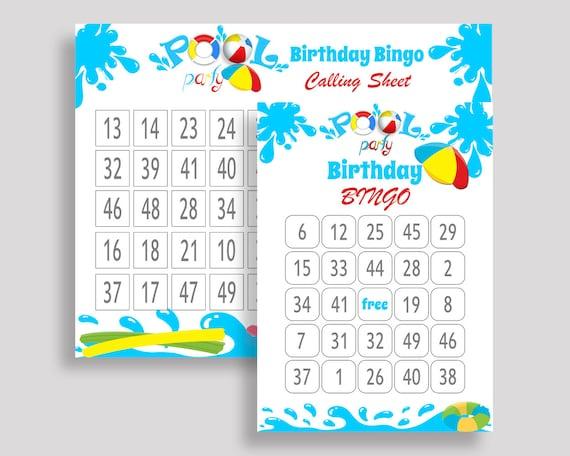Splish Splash Bingo Cards Splish Splash Bingo Game Splish Etsy