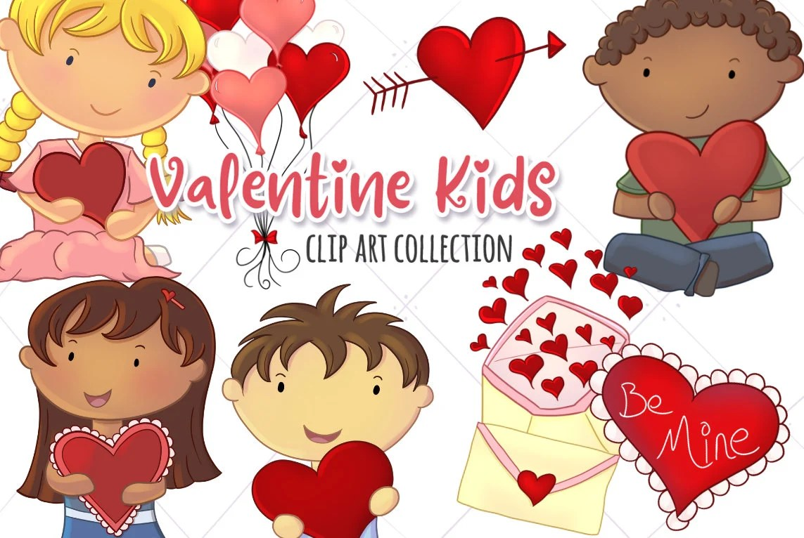 Kinder Cliparts Valentinstag Kinder Clipart Valentine Illustrationen Herzen Und Luftballons Clipart Süßes Kind Valentinstag Clipart Kawaii Kinder