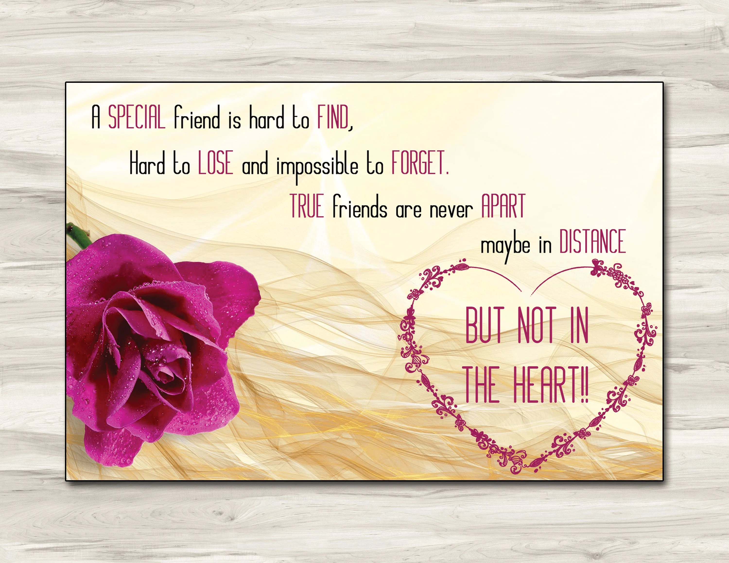 6x4 Friendship card one sided editable template card Etsy