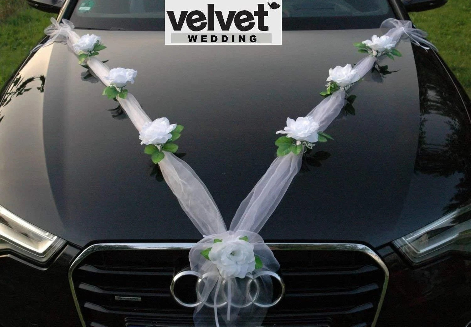 Car Decoration Weding Wedding Car Decoration Kit Set White Roses Organza Only Now Free Ribbon Bows For Doors