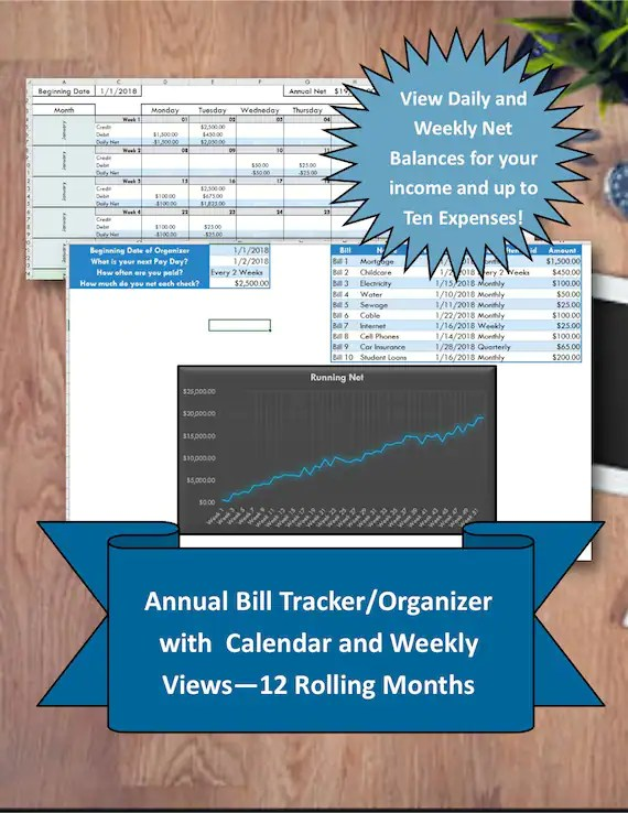 Bill Tracker Instant Download Excel Bill Organizer Template Etsy