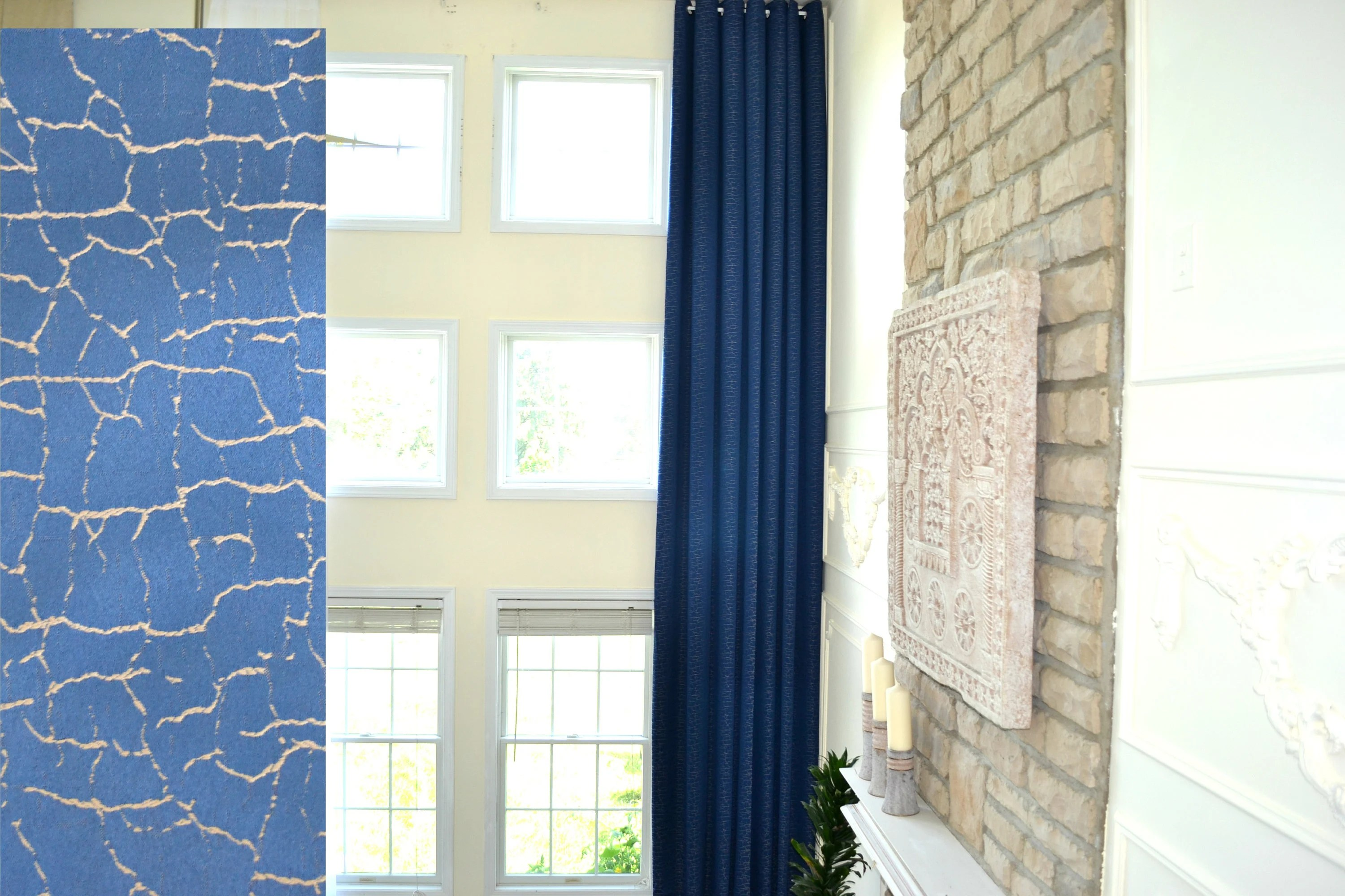 Jacquard Curtains Extra Long Dark Blue Jacquard Curtain Wirh Crack Pattern With Grommet Top 16 17 18 20 Feet 100 Inches Wide