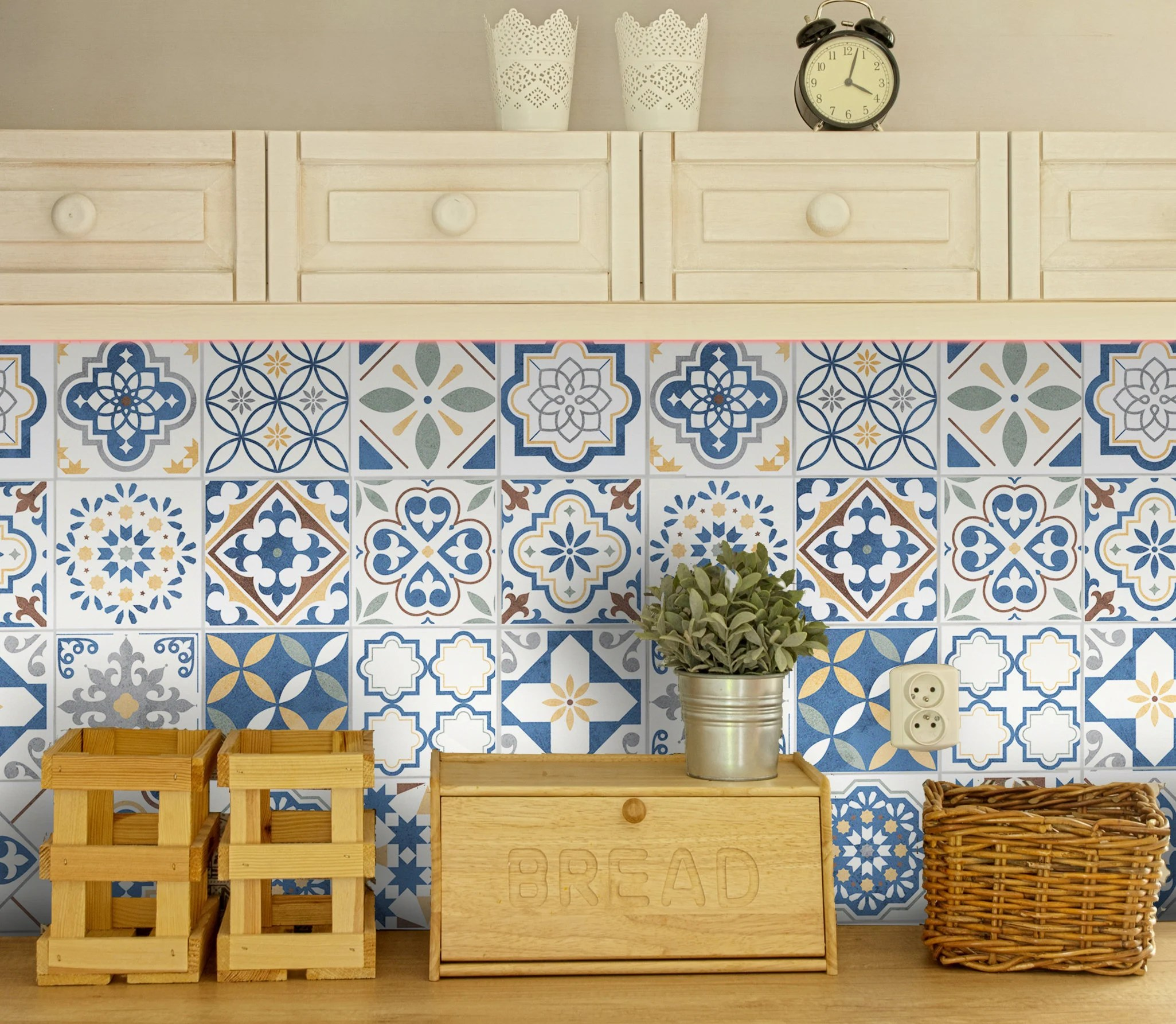 Wohnzimmer Industrial Petrol Talavera Tile Decals Azulejos Tile Stickers Heatprotected Peel Stick Vinyl Decor Kitchen Backsplash Tiles Bathroom Flooring Stair Riser