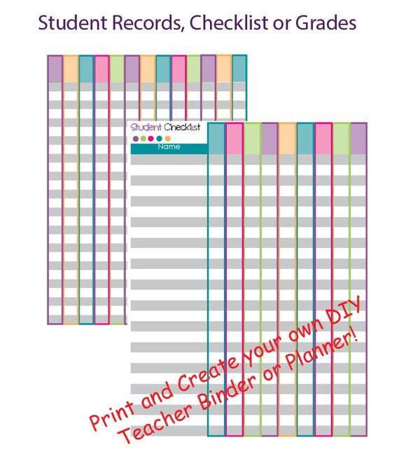 Printable Teacher Planner Grade Book Printable Printable - Teacher Grade Book Printable
