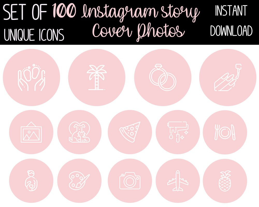 Cornici Storie Instagram 100 Blog Edition Light Pink Instagram Story Highlight Cover Icons Custom Pictures Snapchat Insta Story Highlight Photo Covers Icon Graphic