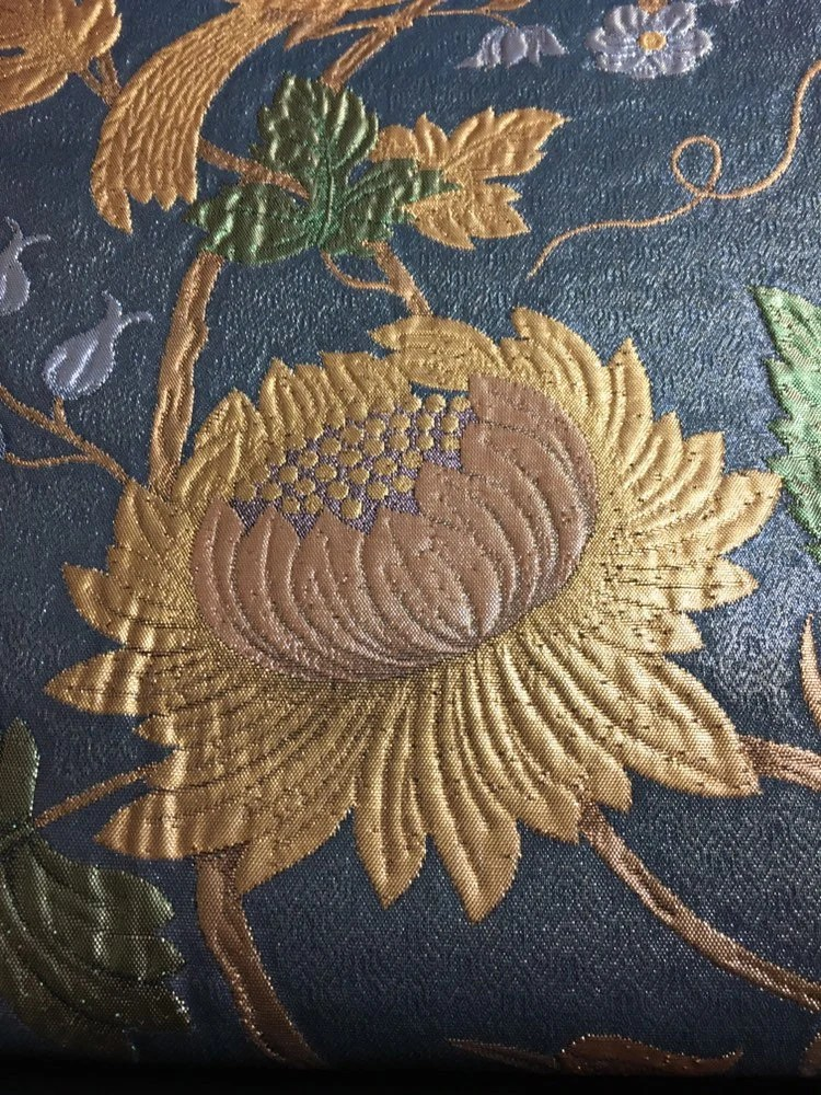 Motif Relief Dark Grey Relief Silk Fukuro Obi Excellent Japanese 3 D Silk Embroidery Nature S Scenery Golden Floral Peacock Motifs Art Decor
