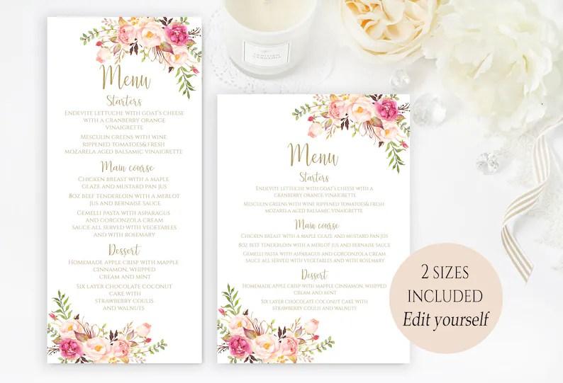 Printable Party Menu Template Wedding Menu Cards Menu Cards Etsy