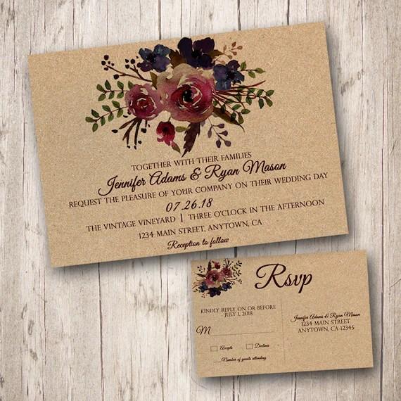 Burgundy Watercolor Wedding invitations with RSVP Burgundy Etsy