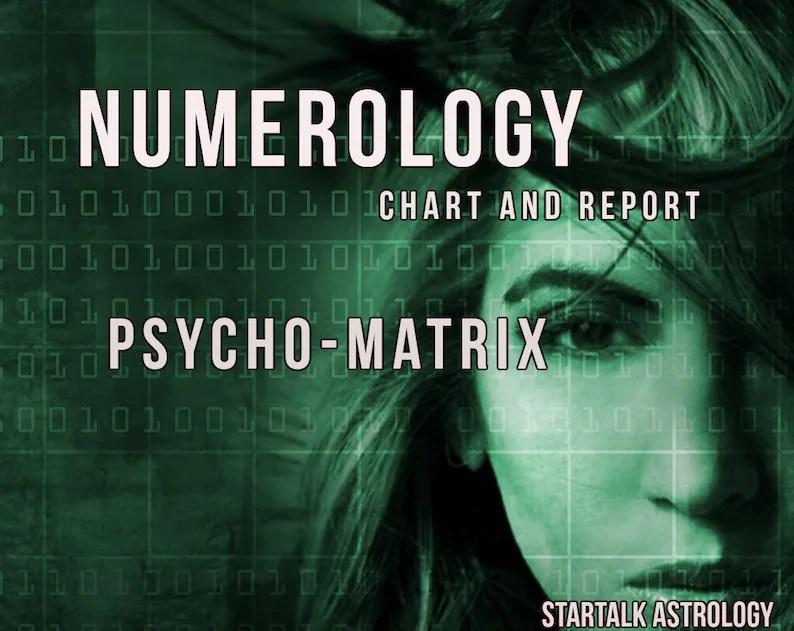Numerology Psycho-Matrix Chart and Report Etsy