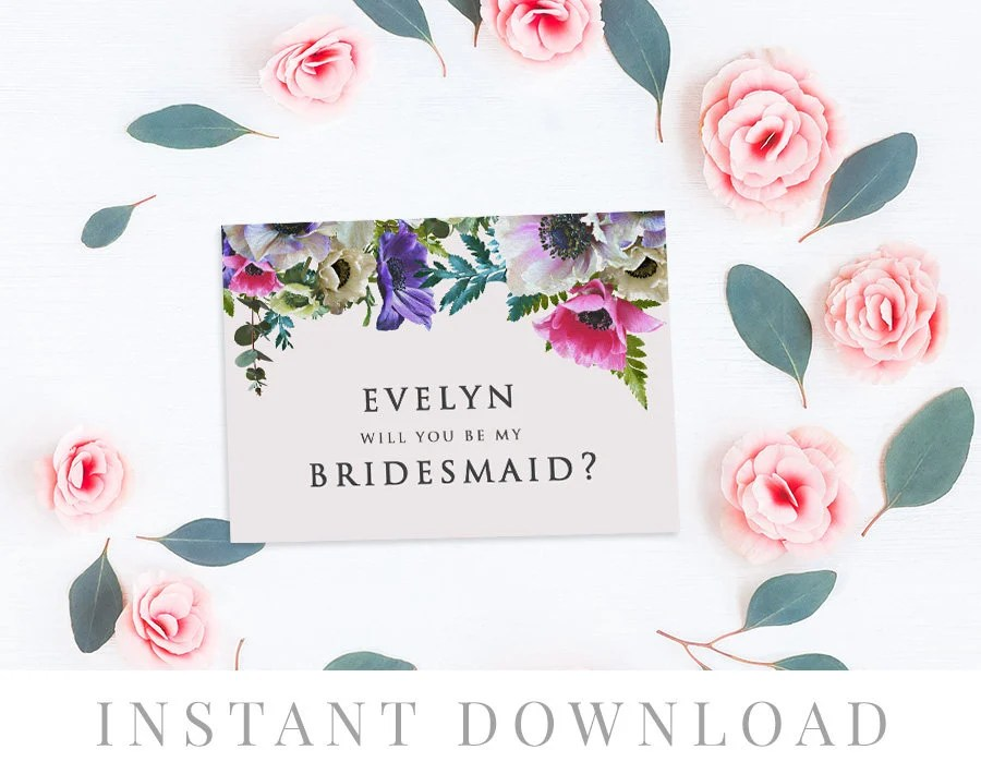 Printable Will You Be My Bridesmaid Card INSTANT DOWNLOAD, Bridal