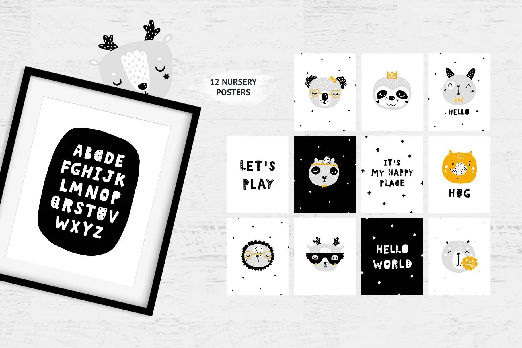 Nursery prints Baby Animal Nursery Prints Alphabet print Etsy